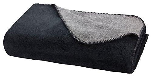 Moon Luxus Doubleface Kuscheldecke Wolldecke 220x240-schwarz/anthrazit