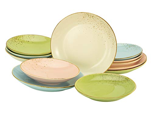 Creatable 22417, Serie Nature Collection Pastell, Geschirrset, Tafelservice 12 teilig, Steinzeug