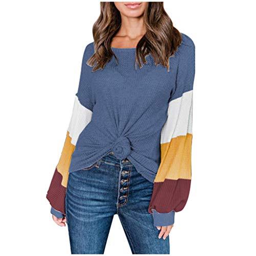Sensail- Femmes Longues Ete Casual Bloc de Couleur Tee Shirt Top Haut col Rond Lanterne Manches Patchwork Bloc de Couleur Pull Sweat Top