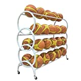 Ball Storage Rack Sporting Goods 3 Tier Ball Cart Sports Ball Rack (Color : White, Size : 139x38x108cm)