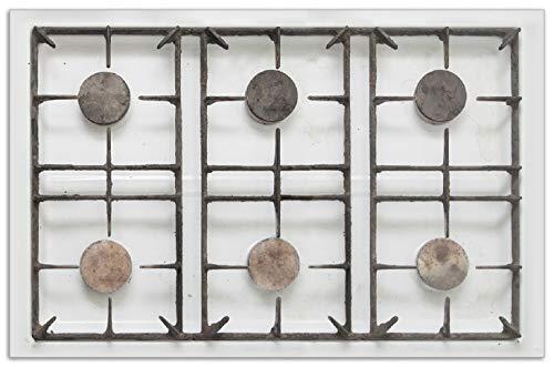 Wallario Herdabdeckplatte/Spritzschutz aus Glas, 1-teilig, 80x52cm, für Ceran- und Induktionsherde, Motiv Alter Gasherd, ungeputzt und dreckig