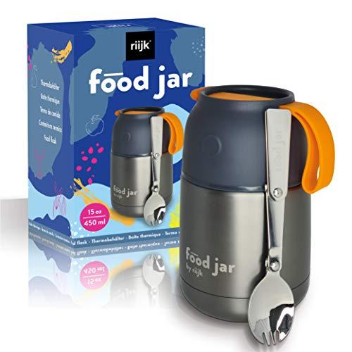 riijk Thermobehälter für Schul-Essen inkl. Göffel + Schüssel - Warmhaltebehälter Essen - Thermobecher - Lunchpot - Thermoschüsseln mit Deckel