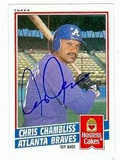 Chris Chambliss autographed baseball card (Atlanta Braves) 1984 Topps Hostess #7 - Autographed Baseball Cards