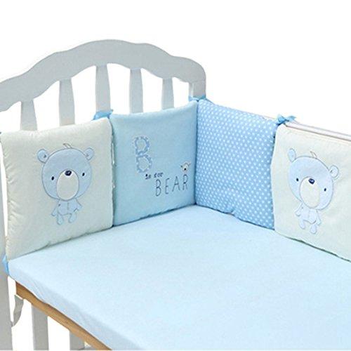 Enerhu Bebé Juego de ropa de cama,Cuna bebé berenjena,Regular seguridad parachoques diseño,Impresiones de animales algodón 6pcs Cada pieza 30 * 30cm Azul