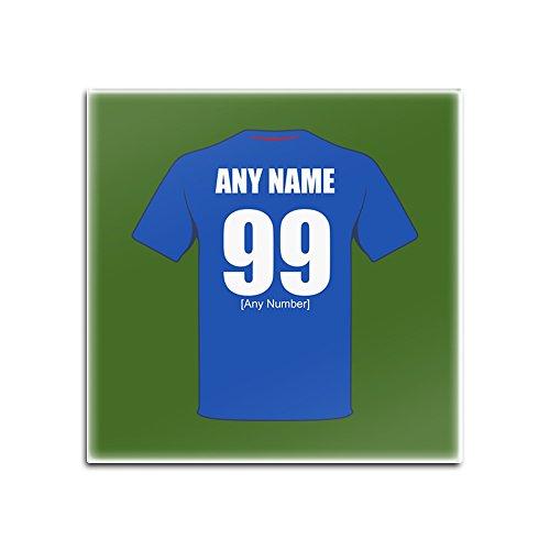 Unigift - Posavasos de cristal cuadrado nacional de Francia (color del diseño del equipo de fútbol), número de nombre, almohadilla única – equipo del FC equipo camiseta Jersey Strip Championship