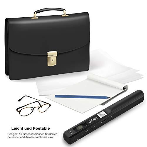 LOETAD Handscanner 900DPI Auflösung Farbe Dokumentenscanner Wireless Tragbarer A4 Scanner mit 8G Micro SD Karte JPG und PDF Format Schwarz (Verpackung MEHRWEG)
