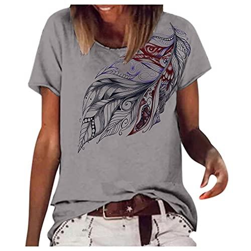 Julhold Blusa de manga corta fluida casual camisetas de las mujeres de verano Casaul O-Neck Tee Tops