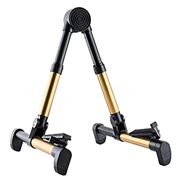 Folding Guitar Stand A-Frame Guitar Floor Holder with No-Slip Rubber Padding for All Guitars Acoustic Classic Electric Bass Travel Guitar Holder Guitar Accessories fit Concert & Trave  Brass