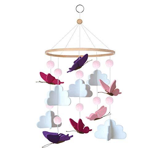 HAPPY FINDING Babybett Mobile Windspiel Rassel Spielzeug aus Bambus, Neugeborenen Kinderzimmer hängende Bettglocke mit Filz Ball und Schmetterling Wolken Dekor, Holz Ornament Geschenk für Baby
