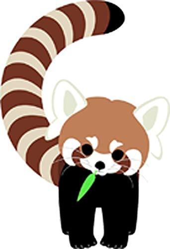 Cute Baby Red Panda Adorable Jungle Animal Cartoon Vinyl Sticker (2' Tall, Curve)