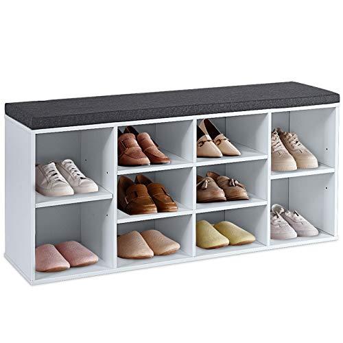 DREAMADE Schuhschrank mit Sitzkissen, Sitzbank Schuhbank mit 2 Verstellbaren Regalen, Schuhregal mit Großem Stauraum, Bücherregal aus Holz, für Flur & Schlafzimmer (Weiß)