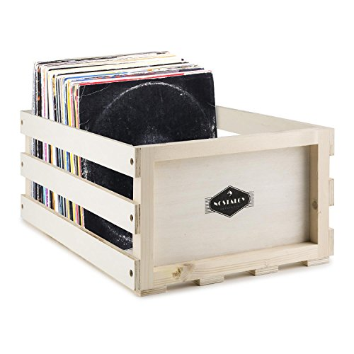 """Auna Nostalgie Record Box WD Caja para discos de vinilo (capacidad de 75 LPs, fuerte y resistente a golpes, adecuada para discos de 12"""") - madera"""
