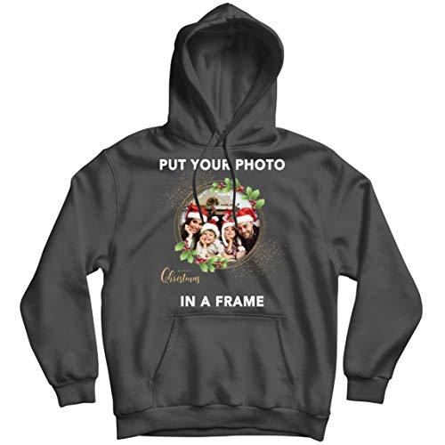 lepni.me Sudadera con Capucha Marco Personalizado Vacaciones de Navidad Regalo Personalizado Foto Familiar (XX-Large Grafito Multicolor)