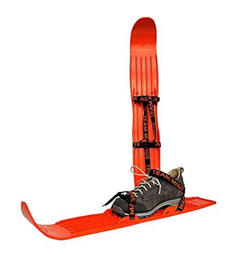 Kinderski für Tricks, Lernen und Spaß im Schnee für Größe 24-41 - flexibel, bequem u. sicher an Allen Schuhen/Stiefeln - hochwertigen Anschnallriemen - ideale Plastik-skis für Kinder (Orange)