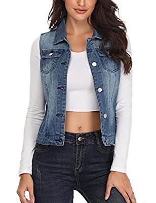 MISS MOLY Denim Vest for Women Button up Washed Cropped Sleeveless Jean Jacket