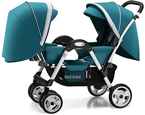 Cochecito de bebé liviano portátil, cochecito doble, carro de bebé a cara con capacidad para dormir/sentarse/de reclinación, arnés de seguridad de 5 puntos, bandeja de alimentos desmontable, espac