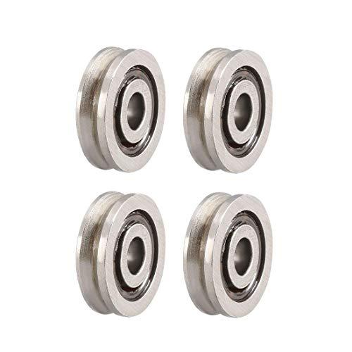 Rodamientos de bolas de riel de polea de guía con garganta profunda, V623 3 x 10 x 3 mm, rodamientos de acero al carbono de tipo abierto, 4 piezas.