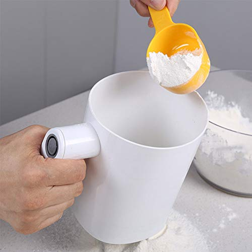SHANSHAN Flour Sifter Electric Sieve Cooking Stainless Steel Mesh Shaker Kitchen Cakes Sugar Handheld Cup Shape Baking Tool Battery Operated Strainer Pastry
