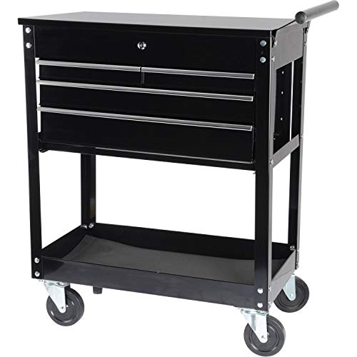 JEGS 4-Drawer Tool Box Cart | 16-Gauge Steel | 580 LBS Total Capacity | Black Powder Coat Finish | Drawer Liners Included | Smooth Ball-Bearing Glides | 33.5 x 17.375 x 38.125 inches