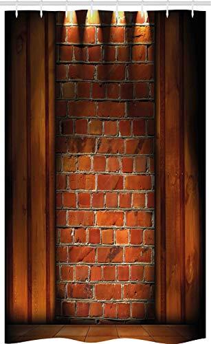 ABAKUHAUS Modern Douchegordijn, Metselwerk, voor Douchecabine Stoffen Badkamer Decoratie Set met Ophangringen, 120 x 180 cm, Oranje Donker oranje