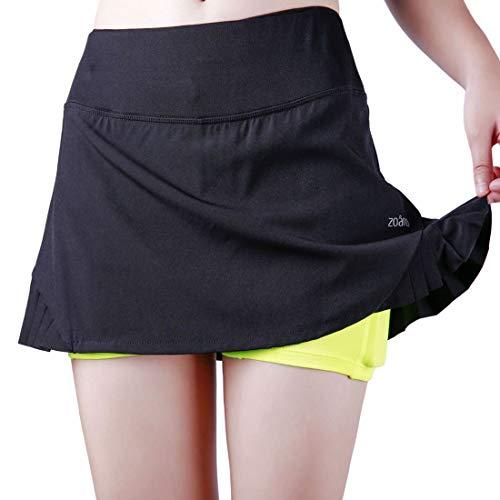 ZOANO Women's Tennis Skirt Athletic Skort with Pockets for Running Golf Workout (XL/16-18, Black-Green)
