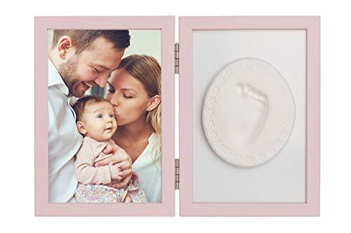 Piccole Tenerezze cornice kit impronte neonato MADE IN EU kit con argilla auto modellante CERTIFICATO A MARCHIO CE sicuro e pratico Pronto all'uso (Rosa)