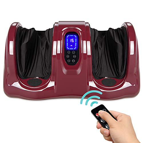 Best Choice Products Therapeutic Shiatsu Foot Massager Kneading and Rolling for Foot, Ankle, Nerve Pain w/Handle, High Intensity Rollers, Remote Control, LCD Screen, 3 Massage Modes - Burgundy
