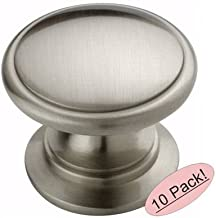 Amerock BP53012-G10 Satin Nickel Traditional Ring Cabinet Hardware Knob, 1-1/4 Inch Diameter - 10 Pack
