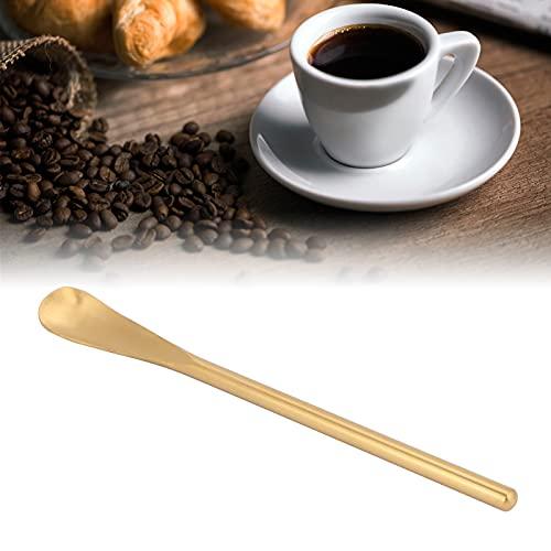 Cucharas para servir de acero inoxidable, mango corto, cuchara para mezclar de café y postre, palo para mezclar para cocina, cafetería, restaurante(mango corto color dorado)