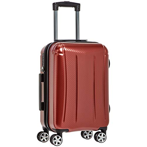 Amazon Basics - Maleta rígida «hardside» Oxford, con ruedas - 55 cm, Rojo