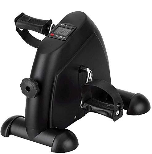 EEUK Mini bicicleta de ejercicio, paso a paso, pedal ejercitador brazo y pierna ciclo bicicleta ejercicio resistencia ajustable con pantalla LCD negro