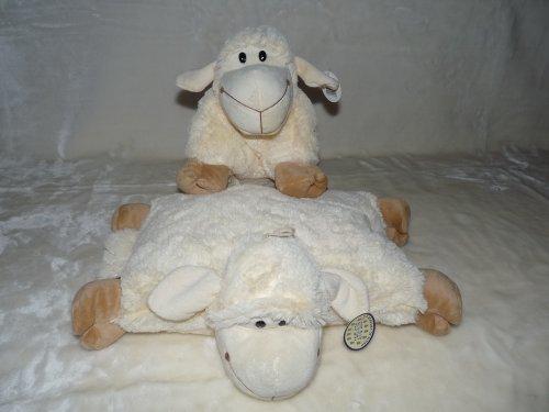 2in1 Kuschelkissen und Kuscheltier Schaf, Schäfchen, Schafkissen, Kuschelschaf mit Klettverschluss 26cm