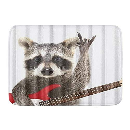 """KGSPK Door Mats,Funny Raccoon Electric Guitar,Kitchen Floor Bath Rug Mat Absorbent Indoor Bathroom Decor Doormat Non Slip 29.5"""" X 17.5"""""""