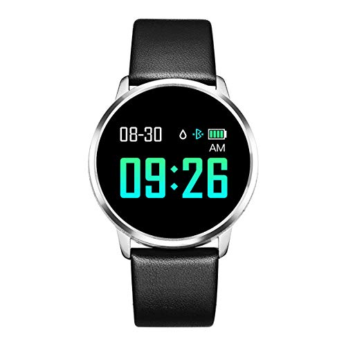 Rundoing Smart Watch OLED Farbdisplay Smartwatch Herren Damen Fitness Tracker Pulsmesser für APP H Band, schwarzes Lederband