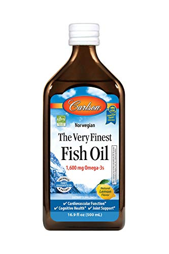 Carlson - The Very Finest Fish Oil, 1600 mg Omega-3s, Liquid Fish Oil Supplement, Norwegian Fish Oil, Wild-Caught, Sustainably Sourced Fish Oil Liquid, Lemon, 16.9 Fl Oz