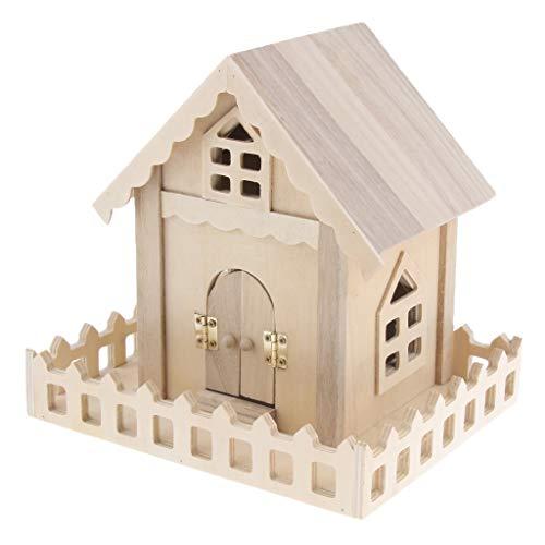 Baoblaze Kleines Holzhaus Vogelhaus Dekoration für Vogelkäfig Wohnzimmer Haus Tisch