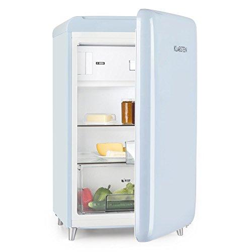 Klarstein PopArt - Frigorífico combi, Compartimento para verduras y botellas, 2 estanterías, Bandeja huevera, Diseño retro, Eficiencia energética E, Nevera 108L, Congelador 13L, Celeste