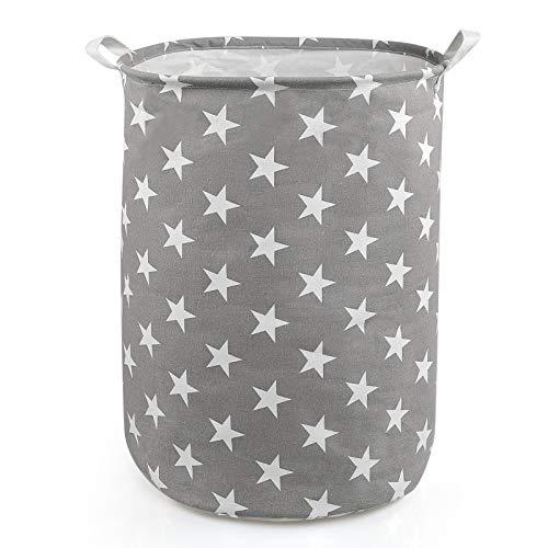 NEWSTYLE Pliable Panier à Linge,Grand Organiser Paniers pour Vêtements Stockage de Jouets Household Organisateur (Gris Star)