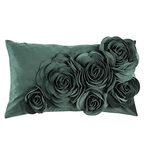 Pad - bloemen - kussenhoes - fluweel kussen - sierkussen - kussenhoes - bloemen applicaties - 30 x 50, donkergroen