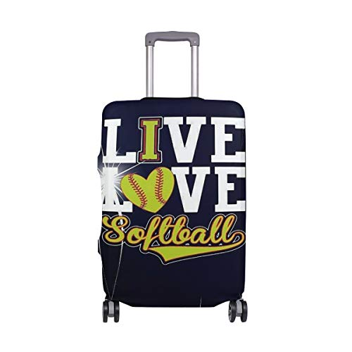Suitcase Cover Love Softball Baseball Travel Hardsided/Softside Luggage Covers Carryon Protector Bag for Kids Women Men,S Fit 18-21inch Luggage