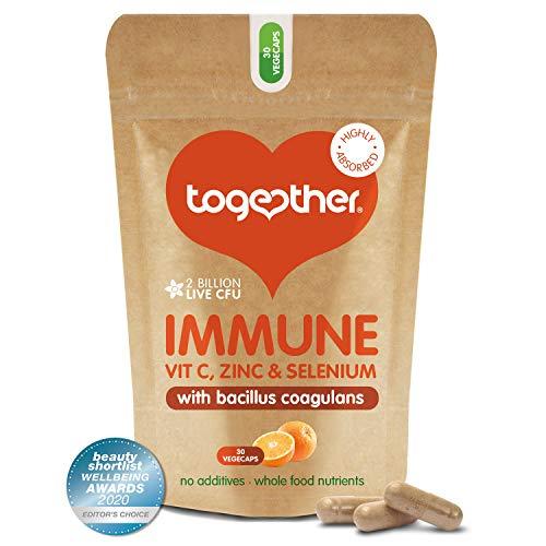 Immune Support Supplement – Together Health – Whole Food Nutrients – Vitamin C, Zinc, Selenium & Live Bacteria – Vegan Friendly – Made in the UK – 30 Vegecaps