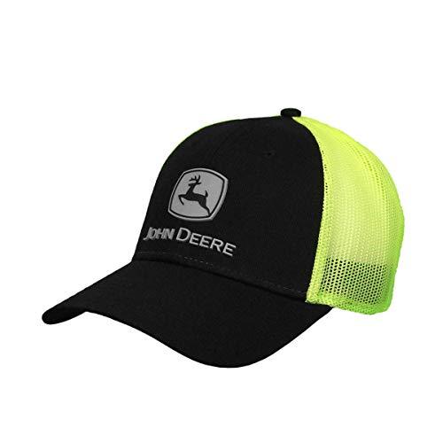 John Deere Hi-Viz Mesh Hat W/Rubber Logo, Black, Black/Hi Vis Yellow, One Size