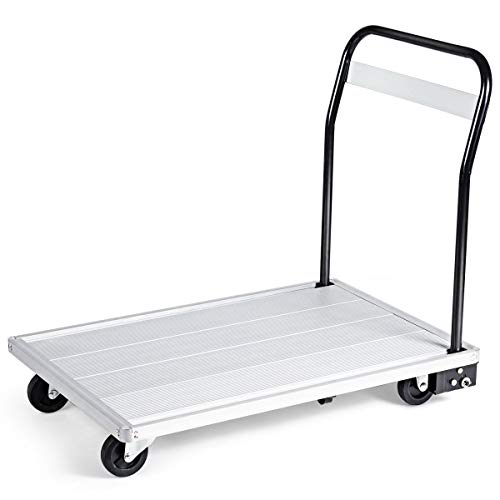 Goplus Folding Aluminum Platform Truck, 770 Lbs Moving Platform Dolly Push Cart with Swivel Wheels and Non-Slip Platform Surface, Rolling Flatbed Hand Truck