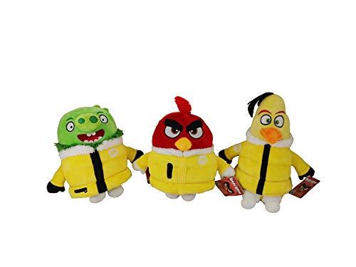 Play by Play Angry Birds Juego de 3 Peluches 30 cm Pajaro Rojo, Amarillo y Cerdo Verde