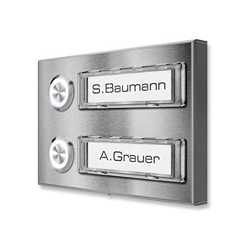 Edelstahl Aufputz Mehrfamilien-Klingel - optional LED-Klingeltaster und Namenschildbeleuchtung - RENZ Namensschild austauschbar - RAL 7016 - Maße: 80 x 120 mm (Edelstahl)