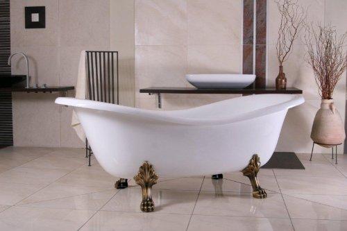 Freistehende Luxus Badewanne Jugendstil Paris Weiß/Altgold
