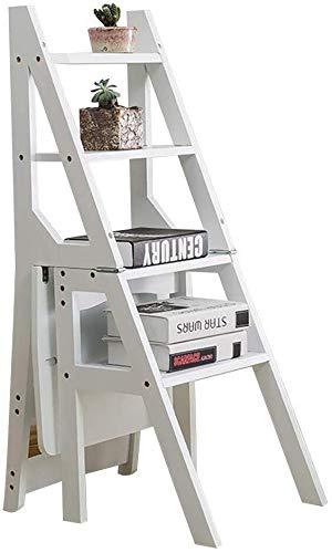 CHGDFQ Taburete plegable de madera maciza para el hogar, multifuncional, para interiores, 4 niveles, para escaleras, doble propósito, grueso (color: blanco)