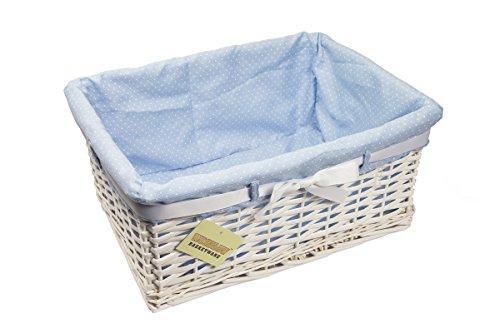 woodluv, Cestino portaoggetti con Fodera Blu e Fiocco, Bianco (White)