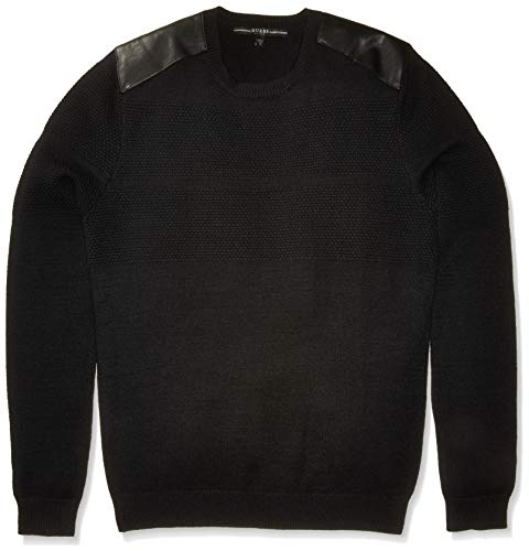 GUESS Jersey de manga larga para hombre, diseño de panal, color negro azabache, S