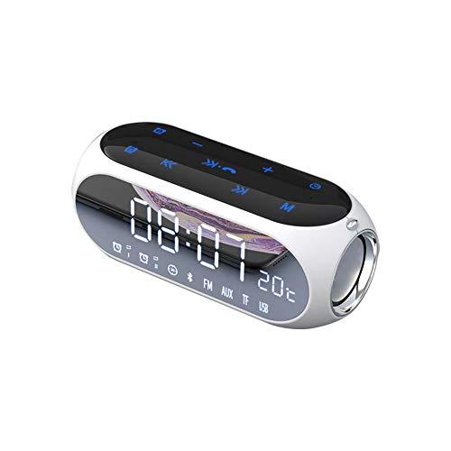 sans Fil Haut-Parleur Bluetooth 4.2 Portable 20w Haut-Parleur StéRéO Subwoofer Basse + Affichage LED + RéVeil + Double EntraîNement pour Voiture, Maison, FêTe, Voyage en Plein Air Noir Blanc
